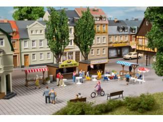 Auhagen HO 11352 Snack Kramen en Marktstallen - Modeltreinshop