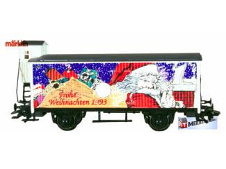 Marklin HO 31968 Gesloten goederenwagen met remhuisje Frohe Weihnachten 1993 - Modeltreinshop