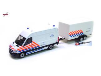 Herpa H0 937009 Mercedes Benz Sprinter Politie + aanhanger - Modeltreinshop