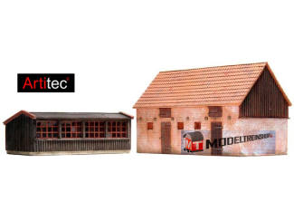 Artitec H0 10.198 Kippenhok en varkensstal, bouwpakket uit resin, ongeverfd - Modeltreinshop