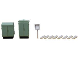 Artitec H0 10.263 Schakelkasten, telefoon, vrijbalken bouwpakket uit Resin, ongeverfd - Modeltreinshop