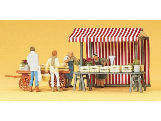 Preiser H0 10053 op de fruitmarkt, marktkramen met figuren - Modeltreinshop