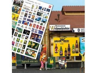 Meer dan 70 werkposters over het onderwerp bier en billboards en reclamezuilen voor het maken van : 2 kleine reklame borden 6 grote reklame borden 2 reklame zuilen - Modeltreinshop