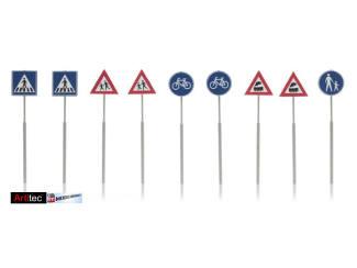 Artitec N 316.033 NL-verkeersborden voetganger, fiets, trein 9 stuks kant en klaar geëtst - Modeltreinshop