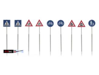 Artitec H0 387.215 NL-verkeersborden: voetganger, fiets, trein 9 stuks kant en klaar geverfd - Modeltreinshop