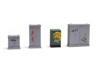NL schakelkasten met graffiti - Modeltreinshop
