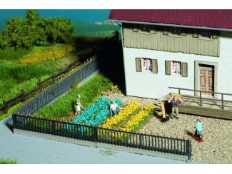 Noch 07138 Bloembedden Blauw en Geel bosjes en stroken 36 stuks - Modeltreinshop