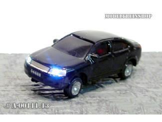 N - Auto Zwart met Voor- en Achter Led licht - Modeltreinshop