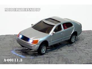 N - Auto Zilver met Voor- en Achter Led licht - Modeltreinshop