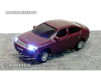 N - Auto Aubergine met Voor- en Achter Led licht - Modeltreinshop