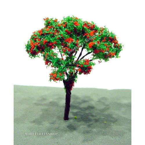 Boom 003 - donker groen met rode bloesem - Modeltreinshop