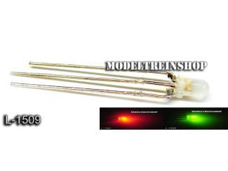 L-1509 - 3 Pins Duo Led 3mm - Groen / Rood 3v - Modeltreinshop