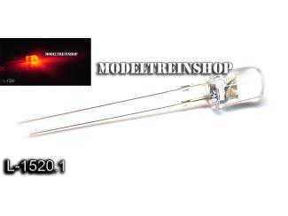 L-1520.1 - Clear Led 5mm Rood 3v - Modeltreinshop