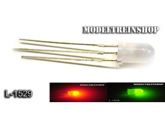 L-1529 - 3 Pins Duo Led 5mm - Groen / Rood 3v - Modeltreinshop