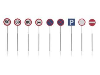 Artitec N 316.046 Verkeersborden snelheid, parkeerverbod kant en klaar geëtst - Modeltreinshop