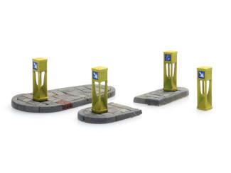 Artitec H0 10.390 Verkeerszuilen (4x) en eilandjes (2x) bouwpakket uit resin, ongeverfd - Modeltreinshop