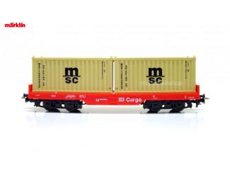 Marklin H0 29453 Containerwagen 2x 20 ft container Msc - Modeltreinshop