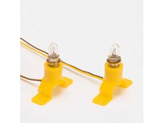 Busch 4280 2x Plastic Lamp Socket met lampje - Modeltreinshop
