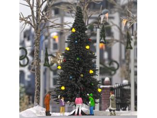 Busch H0 5413 kerstboom, met gekleurde LEDs als verlichting en kerstballen- Modeltreinshop