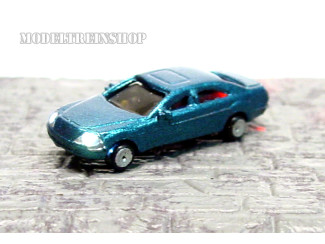 N - Auto Blauw met Voor- en Achter Led licht - Modeltreinshop