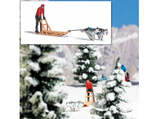 Busch H0 aktie set 7816 man op hondenslee voorgetrokken door 2 honden - Modeltreinshop