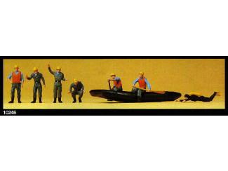 Preiser H0 10246 THW Reddingswerkers in boot - Modeltreinshop