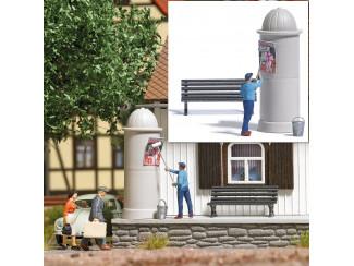 Busch H0 7908 aktie set Man plakt poster op reklamezuil - Modeltreinshop