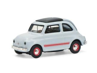 Schuco H0 26594 Fiat 500 Sport, blauw/grijs - Modeltreinshop