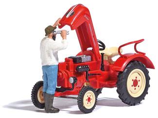 Busch H0 7882 aktie set Traktor reparatie, man bij motor tractor - Modeltreinshop