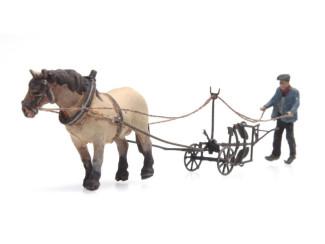 Artitec N 316.068 Paard en Ploeg kant en klaar resin, geverfd - Modeltreinshop