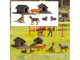 Busch H0 1197 5 Honden met 2 hondenhokken - Modeltreinshop