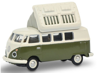 Schuco H0 26604 VW T1c Campingbus groen wit - Modeltreinshop