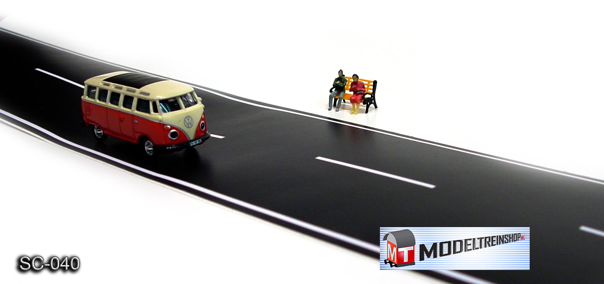 HO Schaal 1:87 - Weg Strip Zwart SC-040Z - Modeltreinshop
