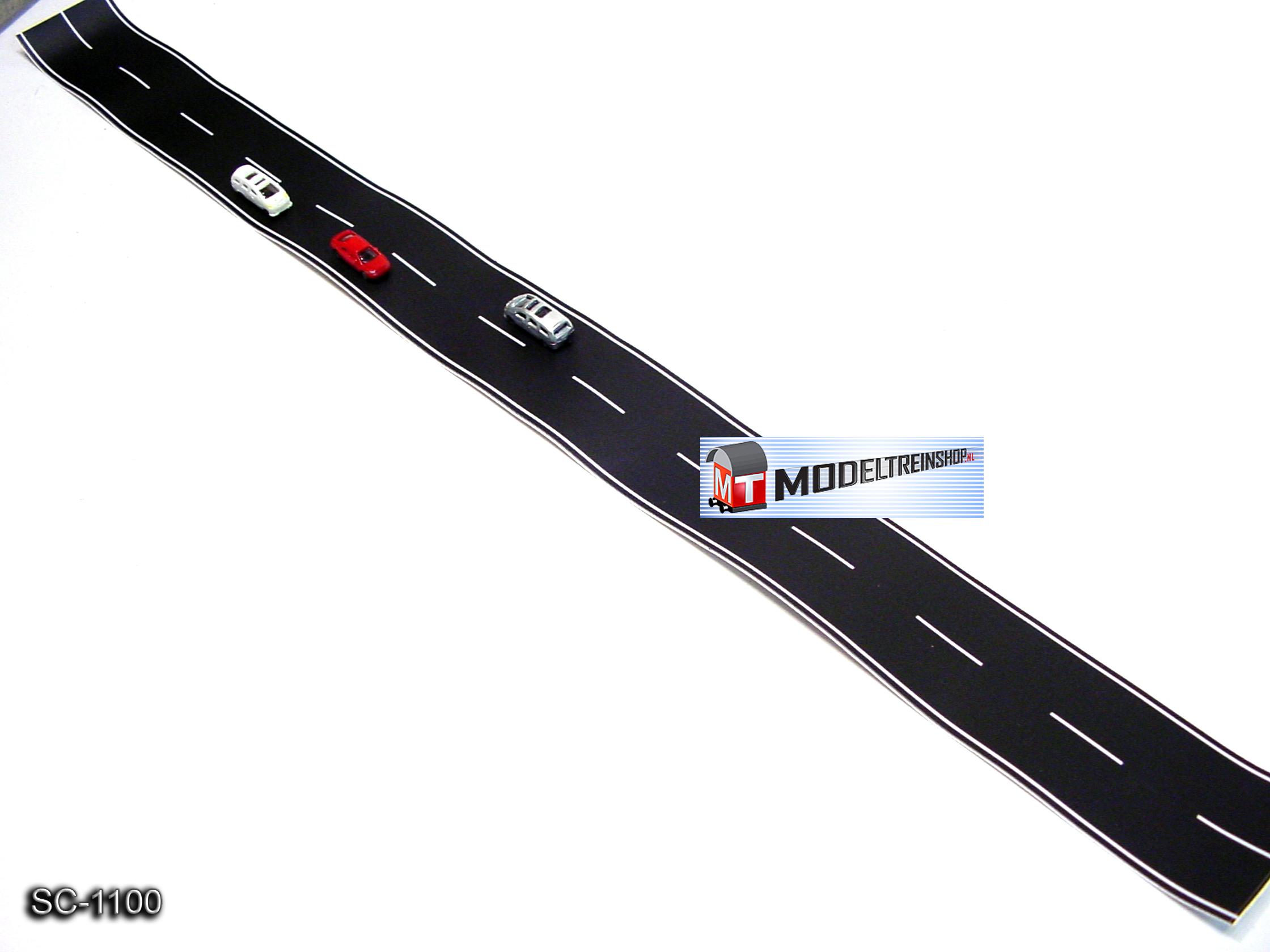 N Schaal 1:160 - Weg Strip Zwart SC-1100 - Modeltreinshop