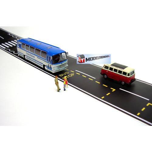 Weg Strip Zwart Met Bus Stop - Modeltreinshop